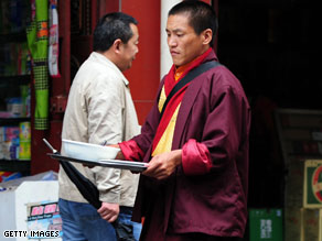 A Tibetan Buddhist monk in southwest China's Sichuan province.