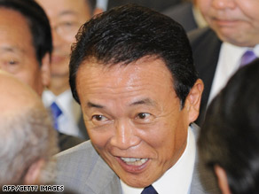 Taro Aso was widely expected to clinch the race in the first round.