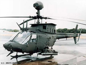 Pakistan says it shot at two U.S. OH-58D helicopters like this one pictured in a U.S. Army photo.