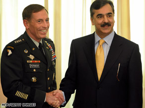 U.S. Gen. David Petraeus, left, meets Monday with Pakistan Prime Minister Yusuf Raza Gilani.
