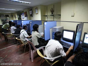 Young people at an Internet cafe in Myanmar.