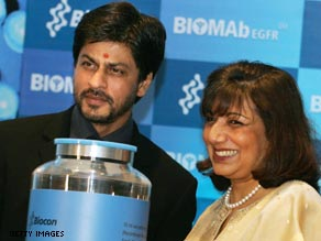 Mazumdar Shaw with Shah Rukh Khan. India's richest woman is ready to answer your questions.