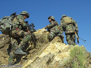 French soldiers of ISAF on patrol near Kabul on November 8.