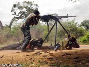 An undated picture shows Tamil Tiger rebels in Kilinochchi during a confrontation with the army.