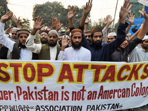 Protestors in Lahore demonstrate against U.S. missile strikes on the Pakistani tribal areas.