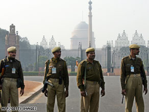 Indian reserve soldiers keep vigil outside the residence of the Indian Prime Minister on Thursday.