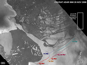 A satellite image of the Wilkins Ice Shelf, which could break away from the Antarctic Peninsula.