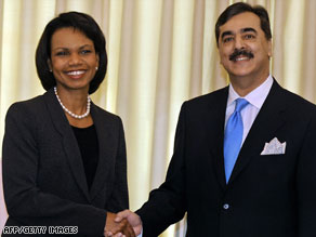 Condoleezza Rice meets Pakistani Prime Minister Yousuf Raza Gilani to discuss the Mumbai attacks.