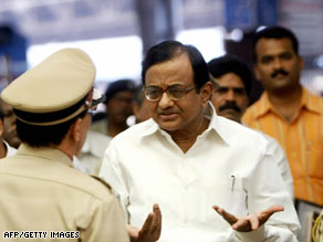 "Home Minister Palaniappan Chidambaram admits there were government ""lapses"" during the Mumbai attacks."