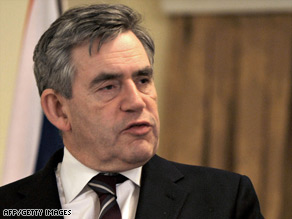 British Prime Minister Gordon Brown speaks at a news conference Saturday in Kabul, Afghanistan.
