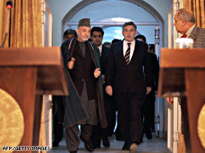 Gordon Brown met with Afghan leader Hamid Karzai on Saturday.