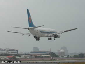 A China Southern  jet lands at Taipei's Songshan airport on Sunday.