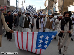 Pakistani Islamists in Quetta on November 27 protest a U.S. missile strike in Pakistan's tribal areas.