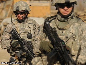 U.S. soldiers patrol near Bagram Air Base in Afghanistan on Wednesday.