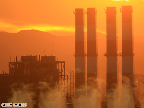 The sun sets on a Californian power station, which could be the recipient of aid under an expected stimulus plan.