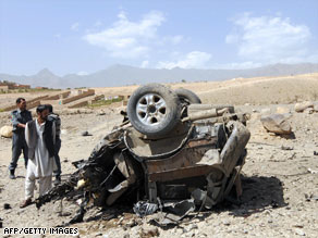 The aftermath of a roadside bombing in Afghanistan.
