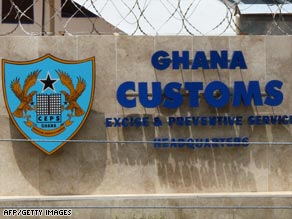 The girls were stopped by customs officials at Accra trying to smuggle drugs back to Britain.