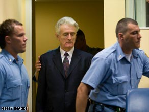 Radovan Karadzic makes an initial appearance at the International Criminal Tribunal for the former Yugoslavia.