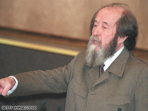 Alexander Solzhenitsyn addresses parliament in 1994, the year he returned to Russia after two decades in exile.
