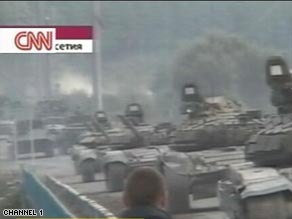 Russia's Channel 1 shows heavy tanks purported to be on their way to South Ossetia.