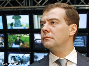 Russian President Dmitry Medvedev says its citizens are being held in Georgia.