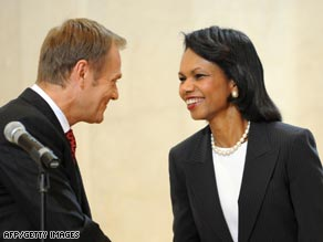Polish Prime Minister Donald Tusk and U.S. Secretary of State Condoleezza Rice.