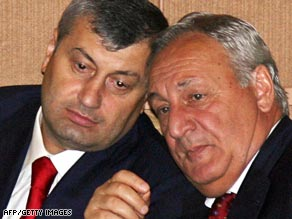 Presidents Eduard Kokoity of South Ossetia and Sergei Bagapsh of Abkhazia at the Russian Duma.