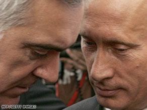 Murat Zyazikov (left) and Vladimir Putin