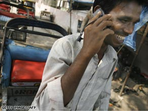 A man talks on his mobile phone in India