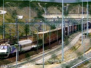 A freight train emerges from the Channel tunnel in this file photo.