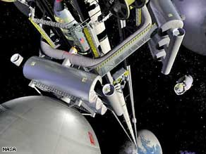 Lift to space: This is a Nasa interpretation of what a space elevator may look like.