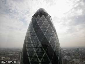 "The ""Gherkin"" designed by Norman Foster is one of the most familiar features on London's skyline."