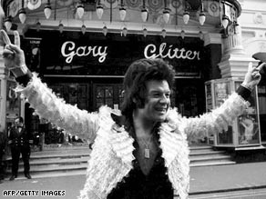 Gary Glitter is pictured in London in 1973 at the height of his fame.