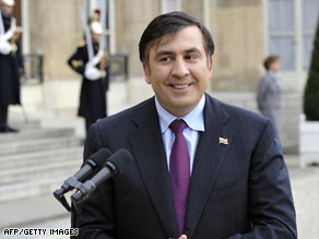 Georgian President Mikheil Saakashvili, shown in France on November 13, called the incident a provocation.