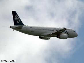 A New Zealand Airbus 320 flying into Auckland from France, from a  file picture taken in 2003.