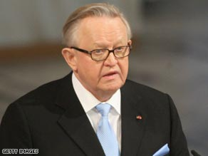 Former Finnish president Martii Ahtisaari was cited for his work in Namibia and Aceh, Indonesia.