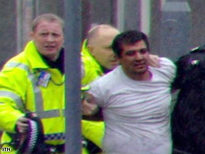 Bilal Abdulla is shown being arrested after the attack at Glasgow Airport.