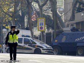 Emergency services surround U.S. Embassy in Madrid, Spain.