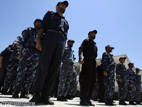 Palestinian Hamas security men stand to attention at a training academy in Gaza City last week.