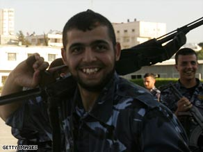 Hamas policemen were all smiles after the six-month truce was declared last week.