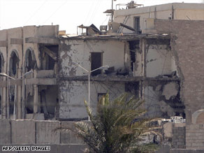 The Canal Hotel, the former U.N. headquarters in Baghdad, still appears as a ruin in September 2007.