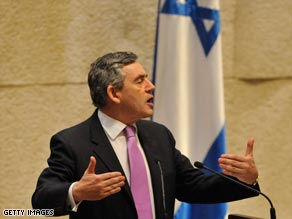 Gordon Brown is the first British Prime Minister to address the Knesset.
