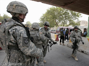 U.S. soldiers patrol a street in Baghdad, Iraq, last week.
