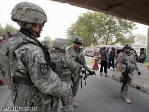 U.S. soldiers patrol a street in Baghdad, Iraq, last week.