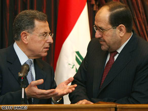Lebanese Prime Minister Fouad Siniora, left, confers with Iraqi Prime Minister Nuri al-Maliki on Wednesday.