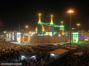 One of the blasts to hit Karbala came close to the Imam Abbas mosque, pictured here in August.