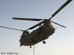 A U.S. Chinook helicopter, similar to this British Chinook, crashed in Iraq, the U.S. military said.