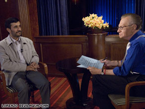 Iranian President Mahmoud Ahmadinejad talks with Larry King in New York on Tuesday.