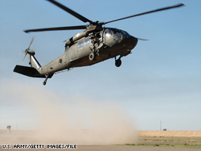 Two UH-60 Blackhawk helicopters, similar to this, crashed Saturday in northern Baghdad, the U.S. military says.