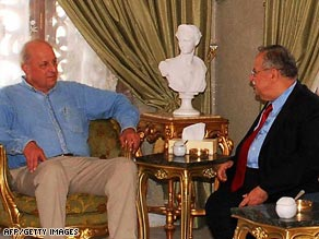 U.S. Deputy Secretary of State John Negroponte, left, meets with Iraqi President Jalal Talabani Saturday.